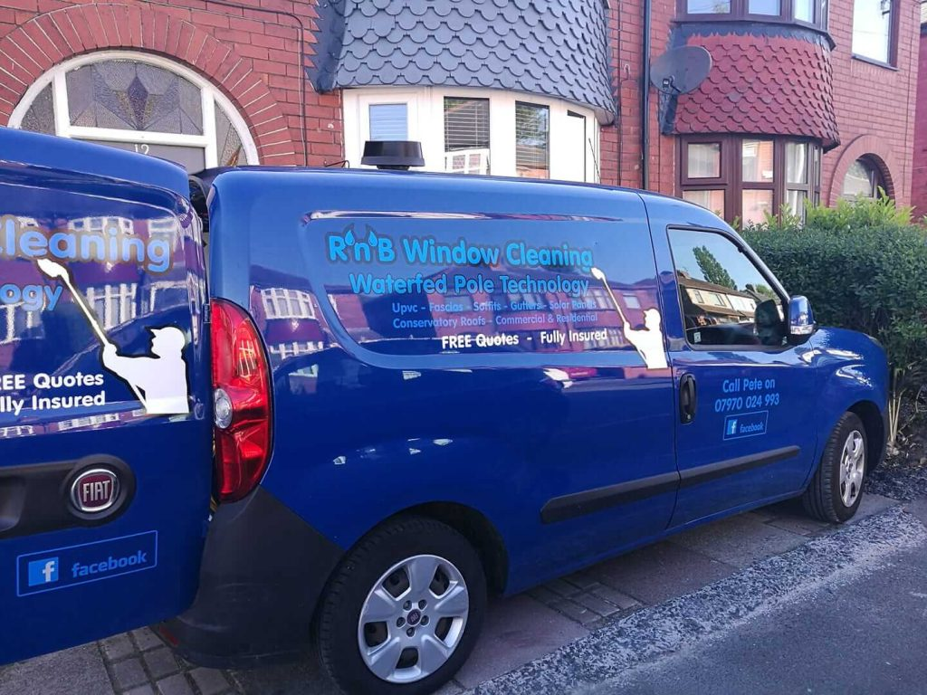 R n B Window Cleaning - You Know We Are Cleaning Your Windows When You See Our Shiny Blue Van.